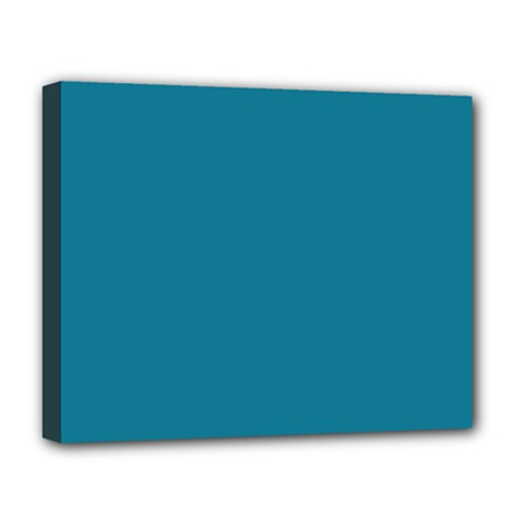 Mosaic Blue Pantone Solid Color Deluxe Canvas 20  X 16  (stretched) by FlagGallery