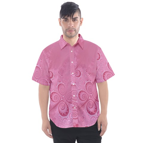 Pink Intricate Swirls Pattern Men s Short Sleeve Shirt by SpinnyChairDesigns