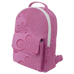 Pink Intricate Swirls Pattern Flap Pocket Backpack (small) by SpinnyChairDesigns