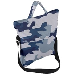Camo Blue Fold Over Handle Tote Bag by MooMoosMumma
