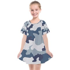 Camo Blue Kids  Smock Dress by MooMoosMumma
