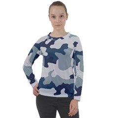 Camo Blue Women s Long Sleeve Raglan Tee