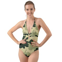 Camo Green Halter Cut-out One Piece Swimsuit by MooMoosMumma