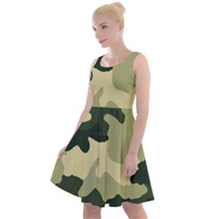 Camo Green Knee Length Skater Dress by MooMoosMumma