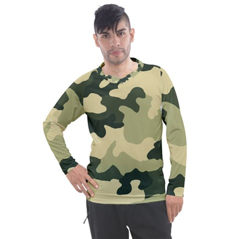 Camo Green Men s Pique Long Sleeve Tee by MooMoosMumma