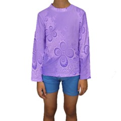 Purple Intricate Swirls Pattern Kids  Long Sleeve Swimwear by SpinnyChairDesigns