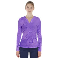 Purple Intricate Swirls Pattern V-neck Long Sleeve Top by SpinnyChairDesigns