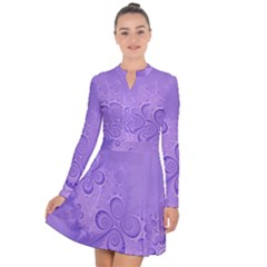 Purple Intricate Swirls Pattern Long Sleeve Panel Dress by SpinnyChairDesigns