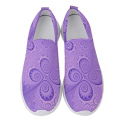 Purple Intricate Swirls Pattern Women s Slip On Sneakers by SpinnyChairDesigns