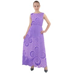 Purple Intricate Swirls Pattern Chiffon Mesh Boho Maxi Dress by SpinnyChairDesigns
