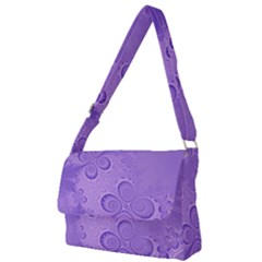 Purple Intricate Swirls Pattern Full Print Messenger Bag (l)