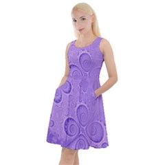 Purple Intricate Swirls Pattern Knee Length Skater Dress With Pockets