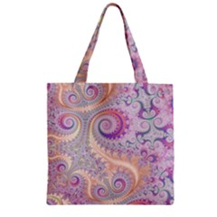 Pastel Pink Intricate Swirls Spirals  Zipper Grocery Tote Bag