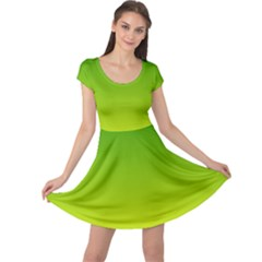 Avocado Ombre Green Yellow Gradient Cap Sleeve Dress