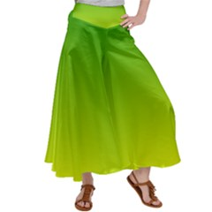 Avocado Ombre Green Yellow Gradient Satin Palazzo Pants by SpinnyChairDesigns