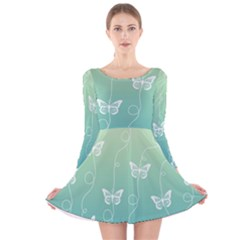 White Butterflies On Blue And Light Green Long Sleeve Velvet Skater Dress