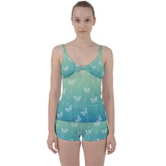 White Butterflies On Blue And Light Green Tie Front Two Piece Tankini