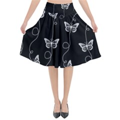 Black And White Butterfly Pattern Flared Midi Skirt by SpinnyChairDesigns