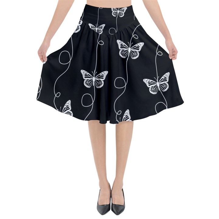 Black and White Butterfly Pattern Flared Midi Skirt