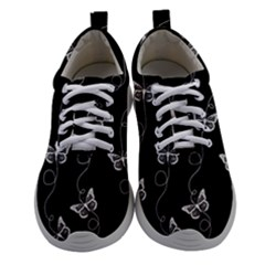 Black And White Butterfly Pattern Athletic Shoes by SpinnyChairDesigns