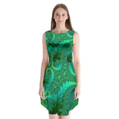 Green Floral Fern Swirls And Spirals Sleeveless Chiffon Dress   by SpinnyChairDesigns