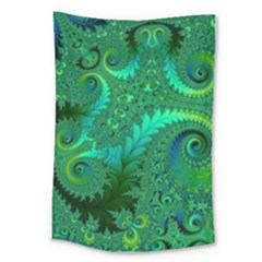 Green Floral Fern Swirls And Spirals Large Tapestry