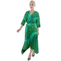 Green Floral Fern Swirls And Spirals Quarter Sleeve Wrap Front Maxi Dress by SpinnyChairDesigns
