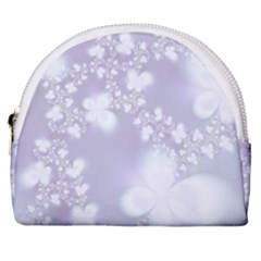 Pale Violet And White Floral Pattern Horseshoe Style Canvas Pouch