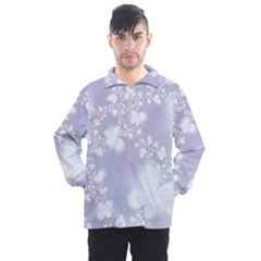 Pale Violet And White Floral Pattern Men s Half Zip Pullover