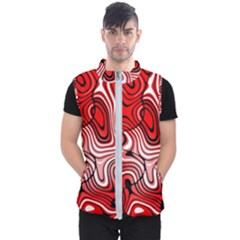 Black Red White Abstract Stripes Men s Puffer Vest