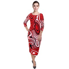 Black Red White Abstract Stripes Quarter Sleeve Midi Velour Bodycon Dress