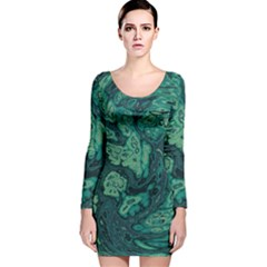 Dark Green Marbled Texture Long Sleeve Velvet Bodycon Dress