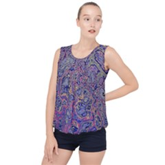 Colorful Marbled Paint Texture Bubble Hem Chiffon Tank Top