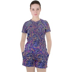Colorful Marbled Paint Texture Women s Tee And Shorts Set