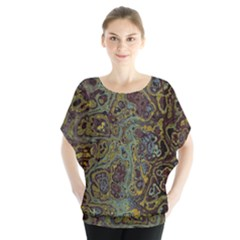 Dark Brown Gold Abstract Marble Texture Batwing Chiffon Blouse