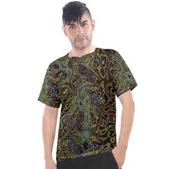 Dark Brown Gold Abstract Marble Texture Men s Sport Top by SpinnyChairDesigns