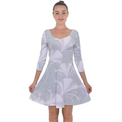 Mint Cream And White Intricate Swirl Spiral Quarter Sleeve Skater Dress