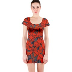 Red Grey Abstract Grunge Pattern Short Sleeve Bodycon Dress