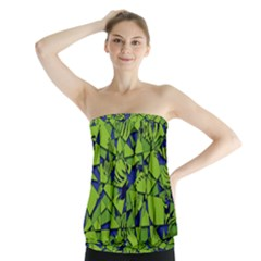 Green Blue Abstract Grunge Pattern Strapless Top by SpinnyChairDesigns