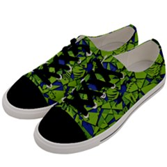 Green Blue Abstract Grunge Pattern Men s Low Top Canvas Sneakers by SpinnyChairDesigns
