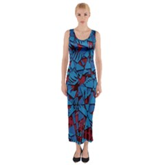 Red Blue Abstract Grunge Pattern Fitted Maxi Dress