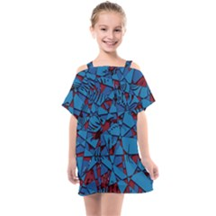 Red Blue Abstract Grunge Pattern Kids  One Piece Chiffon Dress