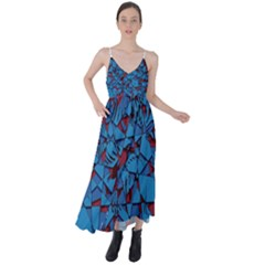 Red Blue Abstract Grunge Pattern Tie Back Maxi Dress by SpinnyChairDesigns