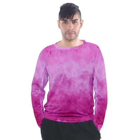 Abstract Pink Grunge Texture Men s Long Sleeve Raglan Tee by SpinnyChairDesigns