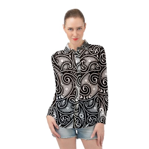 Abstract Paisley Black And White Long Sleeve Chiffon Shirt by SpinnyChairDesigns
