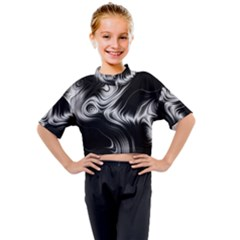 Black And White Abstract Swirls Kids Mock Neck Tee