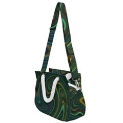 Dark Green Swirls Rope Handles Shoulder Strap Bag