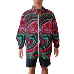 Red Green Swirls Kids  Windbreaker