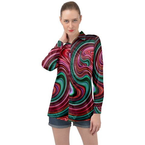 Red Green Swirls Long Sleeve Satin Shirt by SpinnyChairDesigns