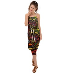 Abstract Tribal Swirl Waist Tie Cover Up Chiffon Dress